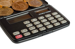 Calculator and coins. One dollar (U.S.), one euro, one grivna (Ukraine Royalty Free Stock Photos