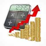 Calculator & coins with arrow. On white background, vector illustration Stock Image