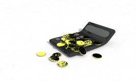Calculator and coins concept, 3d render Royalty Free Stock Image