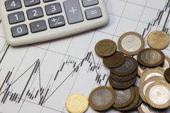 Calculator, coins. Dow Jones index. Currency rates on Forex Stock Photography