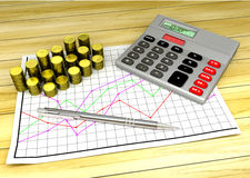 Calculator and coins on financial chart pape. R - 3D render Royalty Free Stock Images