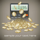 Calculator & coins. Calculator & gold coins on brown background,  illustration Stock Images