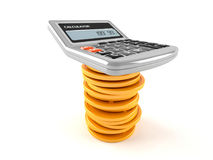 Calculator with coins. Isolated on white background Royalty Free Stock Photos