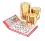 Calculator and coins. Isolated on white background. 3d render Stock Photos