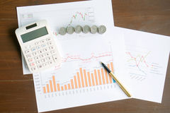 A Calculator, coins and pen laying on chart. Concept of finance. Stock Photos