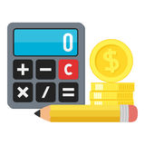 Calculator, Coins & Pencil Flat Icon on White. Small calculator flat icon with stack of golden coins and a pencil, isolated on white background. Eps file Royalty Free Stock Photos