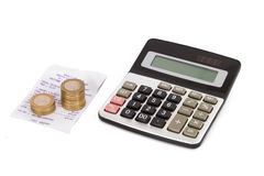 Calculator, Coins and Receipt Royalty Free Stock Image