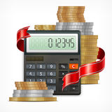 Calculator & coins with ribbon. On white background,  illustration Royalty Free Stock Photography