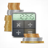 Calculator & coins. On white background,  illustration Royalty Free Stock Photo