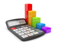 Calculator and colorful business chart. Icon 3D Royalty Free Stock Images