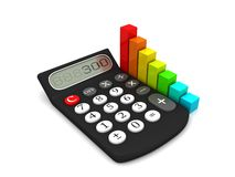 Calculator and colorful business chart. Icon 3D. Calculator and colorful chart. Icon 3D. Business concept.  on white background Stock Photography