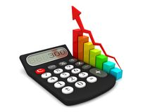 Calculator and colorful business chart. Icon 3D Royalty Free Stock Photography