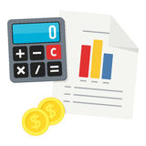 Calculator, Columns Graph & Coins Flat Icon Stock Image