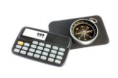 Calculator and compass 2. Calculator and compass isolated on white Royalty Free Stock Photos