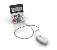 Calculator with Computer Mouse Stock Photo