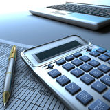 Calculator computer and report. Closeup of a calculator, laptop computer keyboard, pen and a financial report Stock Image
