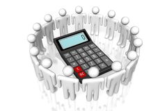Calculator concept. 3D calculator concept - on white background Stock Image