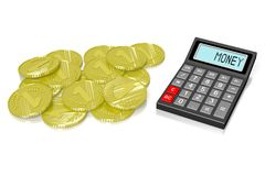 Calculator concept. 3D calculator concept - on white background Royalty Free Stock Photo