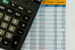 Calculator and cost sheet Royalty Free Stock Photos