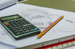 Calculator for costing estimate. Construction Stock Photos