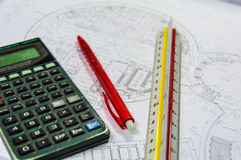 Calculator for costing estimate. Construction Stock Images