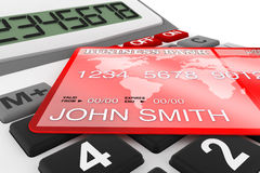 Calculator with Credit Card Royalty Free Stock Photography