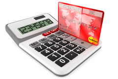 Calculator with Credit Cards Royalty Free Stock Images