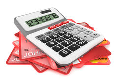 Calculator with Credit Cards Royalty Free Stock Photo
