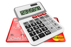 Calculator with Credit Cards Stock Photography