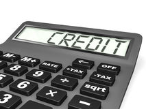 Calculator with CREDIT on display. Stock Photography
