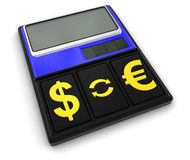 Calculator and Currency (clipping path included) Stock Photography