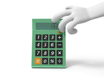 Calculator. A 3d hand taking a big calculator Stock Photos