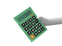 Calculator. A 3d hand taking a big calculator Royalty Free Stock Photo
