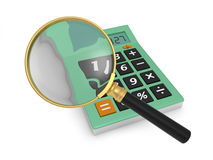 Calculator. A 3d magnifying glass, a 3d calculator Stock Image