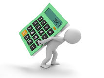 Calculator. A 3d man being pressed by a calculator Stock Photography