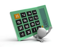 Calculator. A 3d man being pressed by a calculator Stock Image