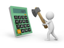 Calculator. A 3d man cutting a calculator with an axe Royalty Free Stock Photos