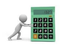 Calculator. A 3d man pushing a big calculator Stock Photography