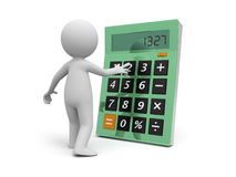 Calculator. A 3d man standing face to a calculator Royalty Free Stock Images