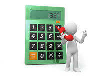 Calculator. A 3d man talking , a calculator background Royalty Free Stock Photos