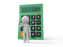 Calculator. A 3d man thinking back to a calculator Royalty Free Stock Photography