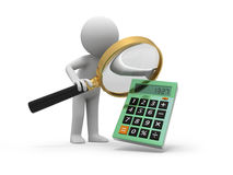 Calculator. A 3d man watching a calculator with a magnifying glass Royalty Free Stock Photo