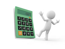Calculator. A 3d person being surprised by a calculator Royalty Free Stock Images
