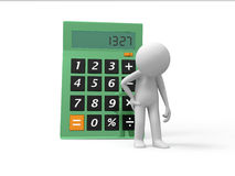Calculator. A 3d person standing back to the calculator Royalty Free Stock Photography