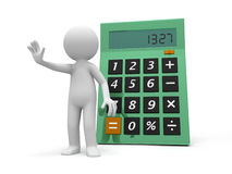Calculator. A 3d person stopping the people back to a calculator Royalty Free Stock Image