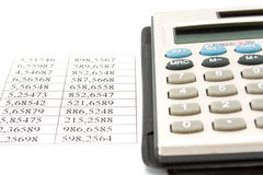 Calculator and data Royalty Free Stock Photos