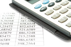 Calculator and data Royalty Free Stock Images