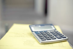 Calculator on Desk Royalty Free Stock Photography