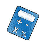 Calculator device icon. Blue calculator device icon over white background. draw and sketch design. vector illustration Royalty Free Stock Photos