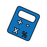 Calculator device icon. Blue calculator device icon over white background. vector illustration Stock Photo